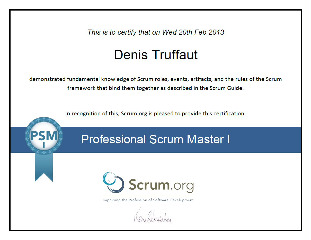 denis truffaut certifications scrum master ceseo php mysql html