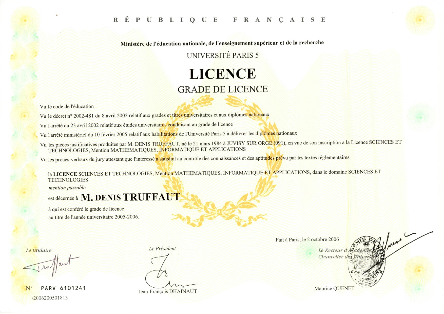 denis truffaut dipl u00f4mes master miage licence epita dut baccalaur u00e9at bafa