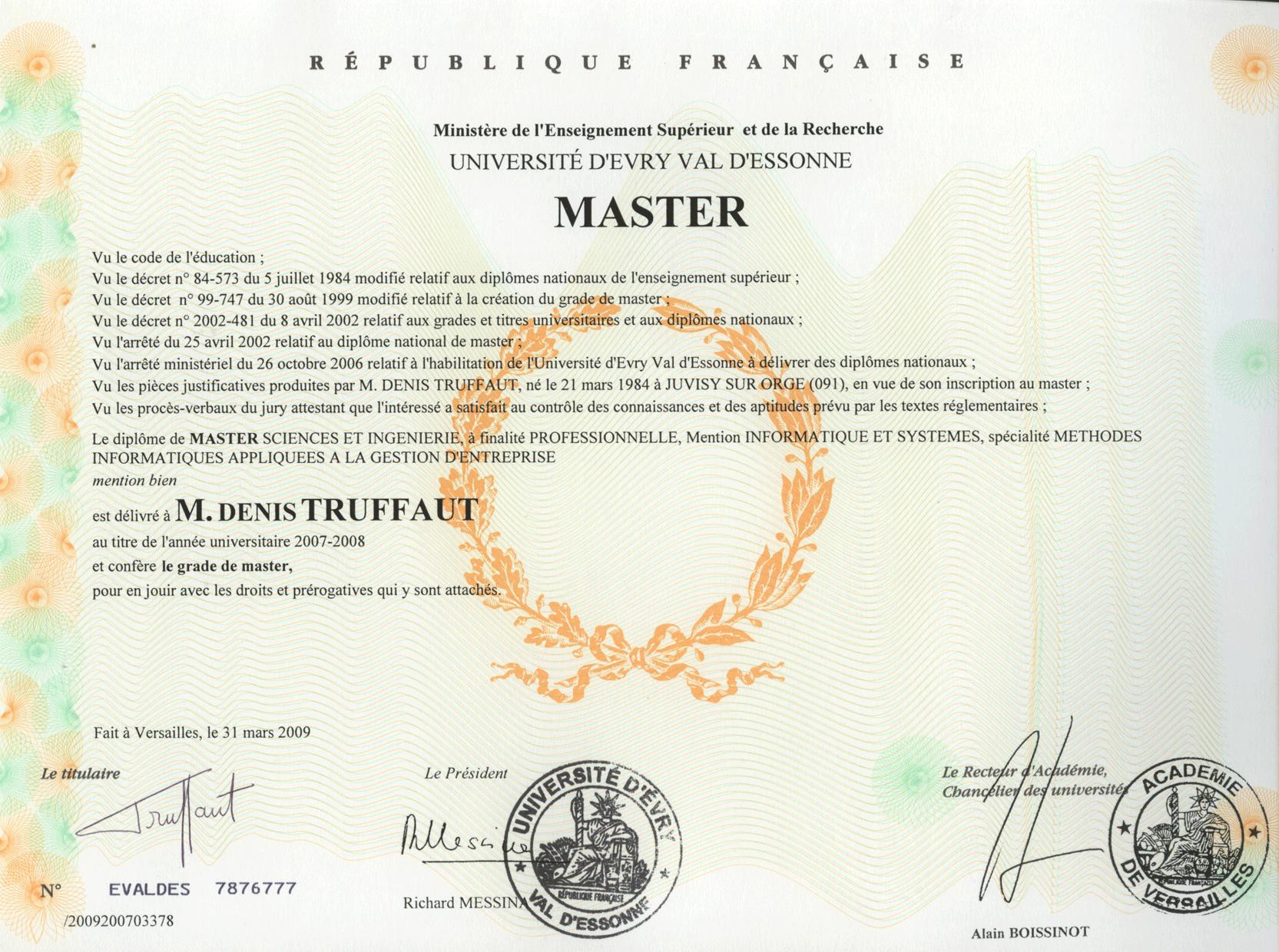 denis truffaut dipl u00f4mes master miage licence epita dut